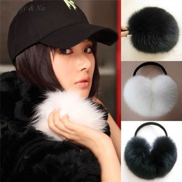 Wholesale-Daisy & Na Super Soft Black White Warmers Wrap Around Ear Women Faux Fur New Earmuffs 012