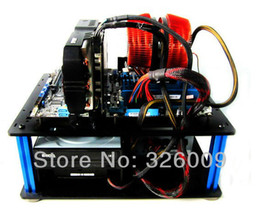 Wholesale Nude open transparent pc case DIY Acrylic personalized computer case ATX MATX M ATX LED horizontal water cooled air cooled QDIY