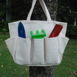 Wholesale Blanks Jute Garden Pocket Bag Flower Pot Bag Utility Tool Hanging Tote for Kids Gift DOMIL106192