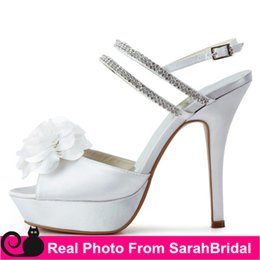 Wholesale Custom Made Wedding Bridal Dance Dress Shoes For Girl Womens Evening Prom Bride Fashion CM High Heels Ladies Crystal Strappy Pumps Sandals