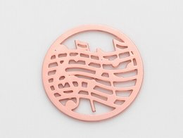 20pcs lot Music Note Rose Gold Round Hollow Floating Window Plates Fit For 30mm Glass Magnetic Memory Locket