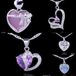 Wholesale Pure Silver Amethyst Pendant Crystal CZ Charms Necklace Making Jewelry Dolphin Swan Mixed