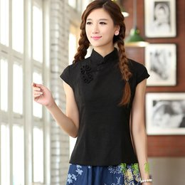 Shanghai Story Black asian top with flower tradition chinese cheongsam top traditional Linen blouse top GD213