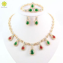 African Gold Plated Sets Fine Women Jewelry Sets African Beads Gold Plated CZ Diamond Bridal Necklace Bracelet Earrings Ring Set