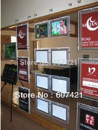 Wholesale Pack units Ultra Slim Double Sided Cable Hanging Wire Window Display Kits A3 Crystal Led Light Boxes