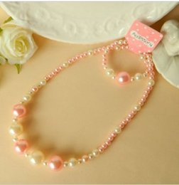 Wholesale new Children girl necklace suits Baby pearl bracelet necklace Pink white necklace bracelet sets