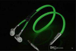 Universal use LED Earphone zipper shape Headset In-Ear LED Flashing Stereo Headphone Shiny hot sale flash glow earset
