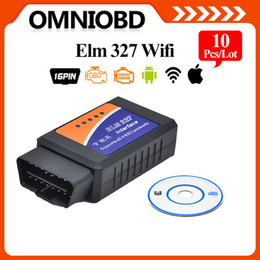 Wholesale 10PCS Best Quality ELM327 Wifi Scanner Auto OBD2 Diagnostic Tool ELM WIFI OBDII Scanner V Wireless For Both Android IOS