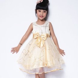 Wholesale Flower girls dresses for weddings Champagne Multi Layers Lace big bowknot sleeveless kids beauty pageant dresses for teenage girl
