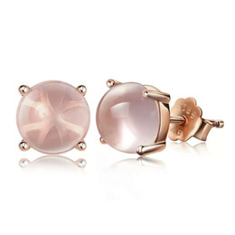Top 925 sterling silver jewelry pink Quartz charms ethnic vintage wedding golden rose girl stud earrings