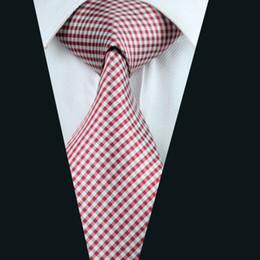 Classic Red Plaid Ties Silk Jacquard Woven Mens Necktie 8.5cm Width Business Work Suit Tie D-1037