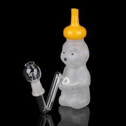 Wholesale Smoking Dogo Honey Bear Tube Glass Water Pipe Sand Blasting Clean Glass Bear Vapor Rig Glass Smoking Pipe Honey Bear Bong Male mm