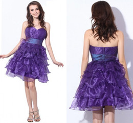Purple Short Homecoming Dresses 2015 Sweetheart Cascading Ruffles organze A Line Sexy juniors prom dresses Mini Cocktail Party Gown