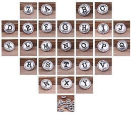 26pcs bricolage / lot initial AZ Alphabet Noosa Snaps 18mm Lettre Snap bouton Bijoux à Charm Bracelet Ginger snap Bijoux / FF initial charm bracelets on sale à partir de bracelets de charme initiales fournisseurs