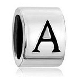 Wholesale Cylindrical Shaped Letter Initial A B C D E F G H European Alphabet Beads Charms Bracelets Pandora Chamilia Compatible