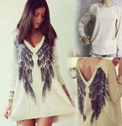 Wholesale-Sexy Women Angel Wing Print Long Sleeve Blouse Long Top Shirt Mini Dress