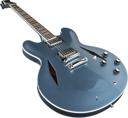 Wholesale Custom Dave Grohl Signature Metallic blue Jazz Electric Guitar Hollow Body Jazz Electric Guitar