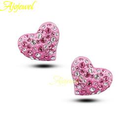 010 New cute Austrian crystal women's pink heart earrings stud romantic 2015 Valentine's day gift