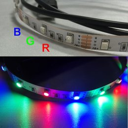 Wholesale Smd 3528 Led Strip Multicolor - Wholesale-Best Price Multicolor 50cm 3528 SMD 30 LED Flexible RGB Stripe Light TV Background Lighting Kit USB Cable 6V USB LED Strip
