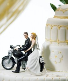 Wholesale 2015 Hot Sale Motorcycle Get Away Custom Couple Cake Topper Wedding Decorations Romantic Touching Story Telling Wedding Cake Decorations