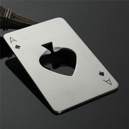 Wholesale Fashion Hot Stylish Poker Playing Card Ace of Spades Bar Tool Soda Beer Bottle Cap Opener Gift