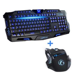 Wholesale Newest Tri color USB Wired LED Backlit Laptop Computer Gamer Keyboard Mouse Combo Optical Professional Buttons DPI Mice