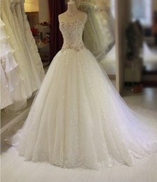 2018 Romantic Luxury Crystal Lace Up Ball Gown Wedding Dresses with Rhinestones Plus Size Vintage Belt Bridal Gowns QS28