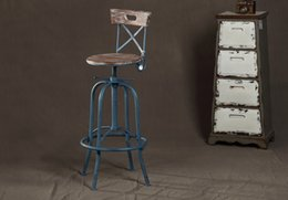 Wholesale industrial loft style wrought iron bar stools wood bar chair lift Elm rotation spot retro bar stool bar stool Color Bar Stools Bar tables