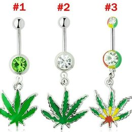 Wholesale New Jamaican Rasta Pot leaf gem belly ring navel ring body piercing jewelry beautiful style and the new