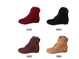 Wholesale Flat Fashion Women s Martin Ankle Winter Boots Artificial Suede Round Big Motorcycle Boots Plus Size Shoes