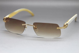 Wholesale Rimless Natural horn White Buffalo Sunglasses Glasses Frame Size mm