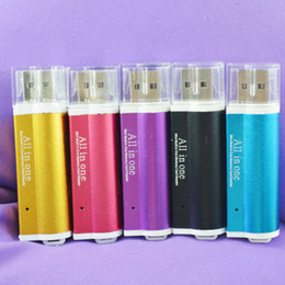 Wholesale 500pcs Lighter Shaped All In One USB Multi Memory Card Reader for Micro SD TF M2 MMC SDHC MS Free DHL Fedex