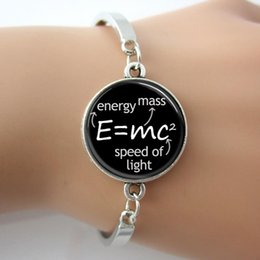 Wholesale Letters Bangle Science Jewelry E mc2 Albert Einstein Math Physics Bracelet Black And White Art Picture GIft For Science A008