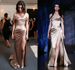 Wholesale Ralph Russo Couture Fall Winter Evening Dresses Off the Shoulder Party Evening Dresses with High Slit Sheath Celebrity Dresses
