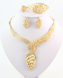 African Jewelry Statement Necklace Earring Bracelet Ring Wedding Party Gift High Quality 18K Gold Plated Crystal Jewelry Sets