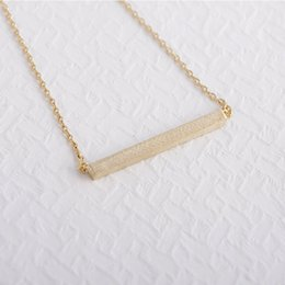 2016Fashion 18k Gold silver plated Square Bar Necklace Pendant Necklace for women gift Free Shipping Wholesale