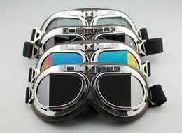 Aviator Pilot Cruiser Motorcycle Scooter ATV Goggle Eyewear T08Y Five Lens Clear Smoke Colorful silver Yellow