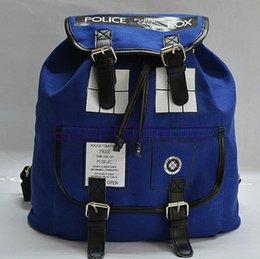 Wholesale 100PCS HHA375 Dr Who Doctor Who Tardis Backpack Doctor Who Tardis Bag Police Box Bag Backpack School Bags Canvas Knapsack
