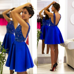 New Arrival Royal Blue Lace A-line Homecoming Dress Sexy Spaghetti Backless Short Cocktail Party Mini Prom Dress