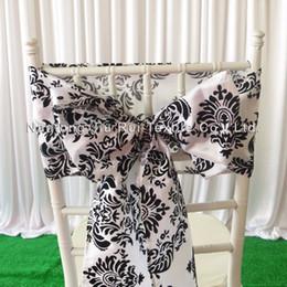 8''*108'' White & Black Flocking Taffeta Chair Sash Taffeta Chair Bow 100PCS With Free Shipping For Wedding Decoration Use