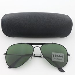 50pcs Classic Mens Womens Pilot Sunglasses Black Frame Green Lenses 62MM UV400 Brand Sun Glasses Eyeglasses With Box