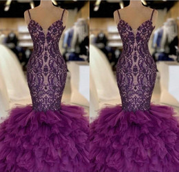 Purple Mermaid Prom Dresses 2019 Tiered Skirt Tulle And Lace Celebrity Evening Dress Floor Length Sexy 2K19 Party Gowns