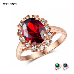 Rose Gold Color Erstwhile Memory Retro Element Zirconia Classic Woman Finger Rings Red Blue Green Wholesale Christmas Gifts