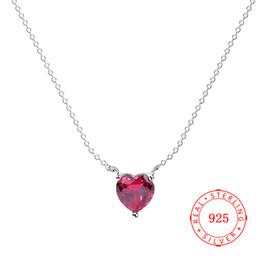100% 925 sterling silver rhodium plating red heart pendant necklace 2018 best selling jewelry for girl wholesale