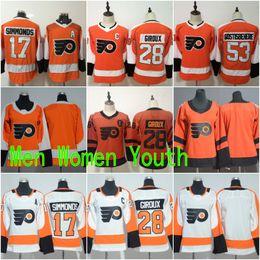 Philadelphia Flyers #28 Claude Giroux Jerseys 17 Wayne Simmonds Blank Orange White All Stiched Hockey Jersey Men Women Youth Kids Boy Girls