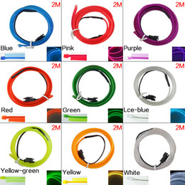 LEEWA 2M 9-color Flexible Moulding EL Neon Glow Lighting Rope Strip With Fin For Car Decoration SKU:#3268
