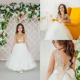 Newest Gold Sequined Flower Girl Dresses Sparkly Long Girl Formal Wedding Dress Kids Party Birthday Pageant Gown