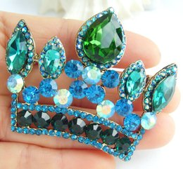 Gorgeous Crown Brooch Pin w Turquoise & Green Rhinestone Crystals EE05050C5