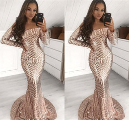 Stunning Full Sequins Mermaid Prom Dresses 2019 Long Sleeve Off Shoulder African Black Women Occasion Party Gowns Evening Dress Wear BC1643