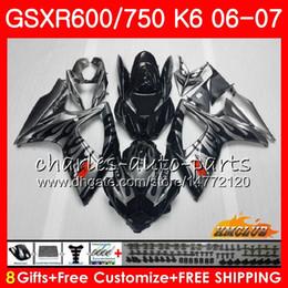 Body sillvery flames For SUZUKI GSX R600 GSX R750 GSXR600 2006 2007 8HC.6 GSX-R600 GSXR-750 K6 GSXR 600 750 06-07 GSXR750 06 07 Fairing kit